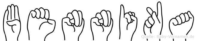 Bennika im Fingeralphabet der Deutschen Gebärdensprache