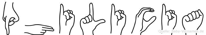 Philicia in Fingersprache für Gehörlose