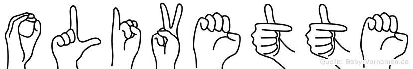 Olivette im Fingeralphabet der Deutschen Gebärdensprache