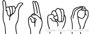 Yuno im Fingeralphabet der Deutschen Gebärdensprache