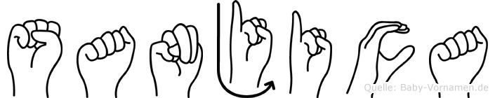 Sanjica im Fingeralphabet der Deutschen Gebärdensprache