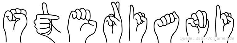 Steriani im Fingeralphabet der Deutschen Gebärdensprache