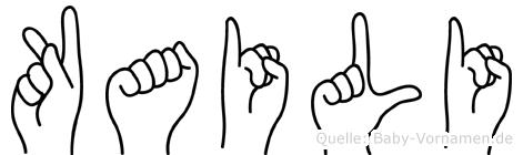 Kaili im Fingeralphabet der Deutschen Gebärdensprache