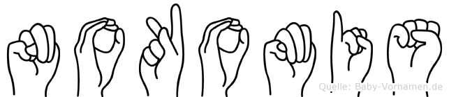 Nokomis im Fingeralphabet der Deutschen Gebärdensprache
