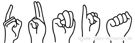 Dunia im Fingeralphabet der Deutschen Gebärdensprache