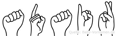 Adair im Fingeralphabet der Deutschen Gebärdensprache