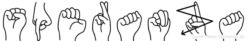 Speranza im Fingeralphabet der Deutschen Gebärdensprache