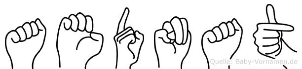 Aednat im Fingeralphabet der Deutschen Gebärdensprache
