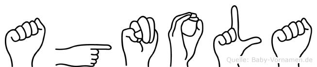 Agnola im Fingeralphabet der Deutschen Gebärdensprache