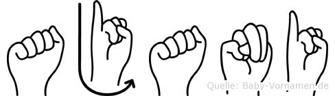 Ajani im Fingeralphabet der Deutschen Gebärdensprache