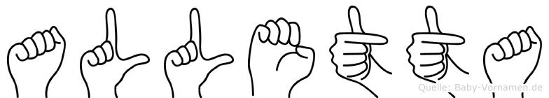 Alletta im Fingeralphabet der Deutschen Gebärdensprache