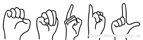 Endil im Fingeralphabet der Deutschen Gebärdensprache