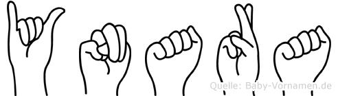 Ynara im Fingeralphabet der Deutschen Gebärdensprache