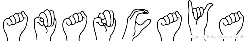 Amancaya im Fingeralphabet der Deutschen Gebärdensprache