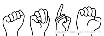 Ande im Fingeralphabet der Deutschen Gebärdensprache