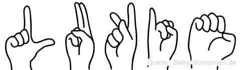 Lukie im Fingeralphabet der Deutschen Gebärdensprache
