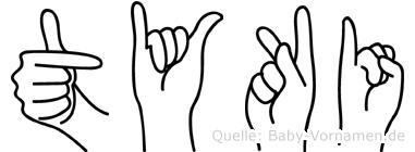 Tyki im Fingeralphabet der Deutschen Gebärdensprache