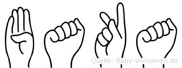 Baka im Fingeralphabet der Deutschen Gebärdensprache