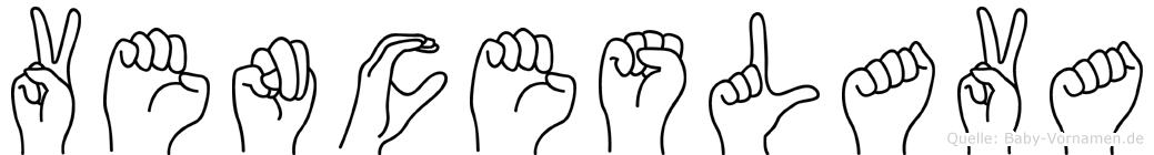 Venceslava im Fingeralphabet der Deutschen Gebärdensprache