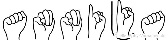 Annija im Fingeralphabet der Deutschen Gebärdensprache