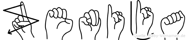 Zenija im Fingeralphabet der Deutschen Gebärdensprache