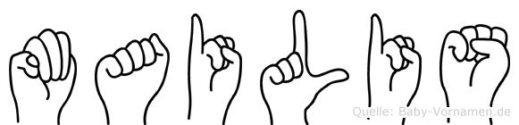 Mailis im Fingeralphabet der Deutschen Gebärdensprache
