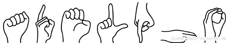 Adelpho im Fingeralphabet der Deutschen Gebärdensprache