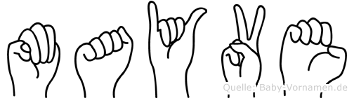 Mayve im Fingeralphabet der Deutschen Gebärdensprache