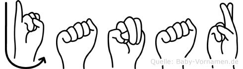 Janar im Fingeralphabet der Deutschen Gebärdensprache