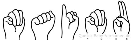 Maimu im Fingeralphabet der Deutschen Gebärdensprache