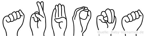 Arbona in Fingersprache für Gehörlose