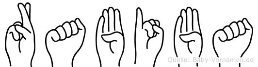 Rabiba im Fingeralphabet der Deutschen Gebärdensprache