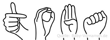 Toba im Fingeralphabet der Deutschen Gebärdensprache