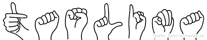 Taslima im Fingeralphabet der Deutschen Gebärdensprache