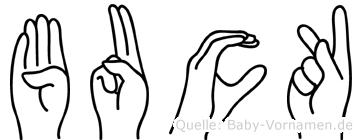Buck im Fingeralphabet der Deutschen Gebärdensprache