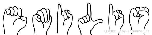 Emilis im Fingeralphabet der Deutschen Gebärdensprache