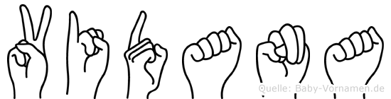 Vidana im Fingeralphabet der Deutschen Gebärdensprache
