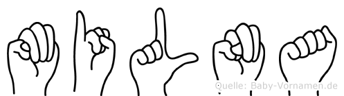 Milna im Fingeralphabet der Deutschen Gebärdensprache
