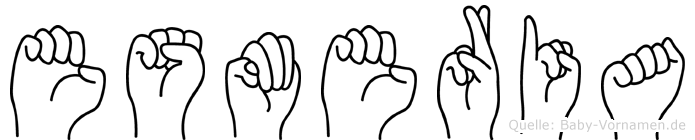 Esmeria im Fingeralphabet der Deutschen Gebärdensprache