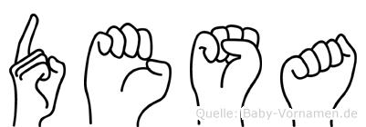 Desa im Fingeralphabet der Deutschen Gebärdensprache