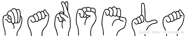 Marsela im Fingeralphabet der Deutschen Gebärdensprache