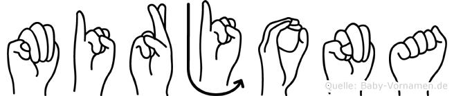 Mirjona im Fingeralphabet der Deutschen Gebärdensprache