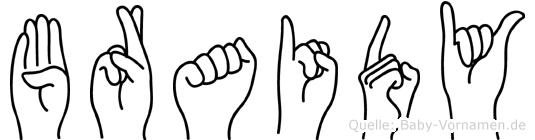 Braidy im Fingeralphabet der Deutschen Gebärdensprache