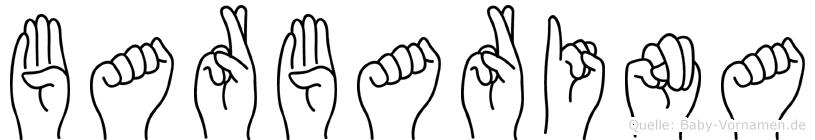 Barbarina im Fingeralphabet der Deutschen Gebärdensprache