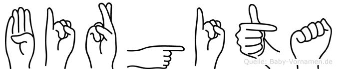 Birgita im Fingeralphabet der Deutschen Gebärdensprache