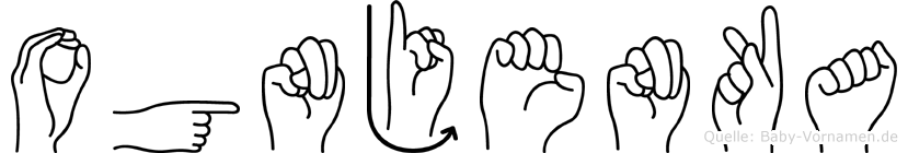 Ognjenka im Fingeralphabet der Deutschen Gebärdensprache