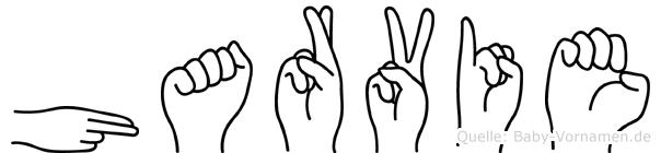 Harvie im Fingeralphabet der Deutschen Gebärdensprache