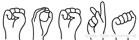 Soska im Fingeralphabet der Deutschen Gebärdensprache