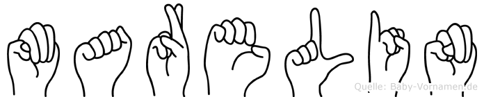 Marelin im Fingeralphabet der Deutschen Gebärdensprache