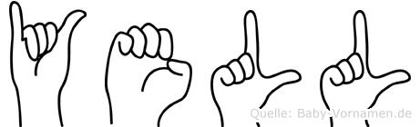 Yell im Fingeralphabet der Deutschen Gebärdensprache